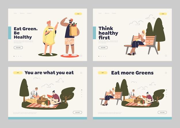 Conjunto de páginas de destino para o conceito de alimentação saudável