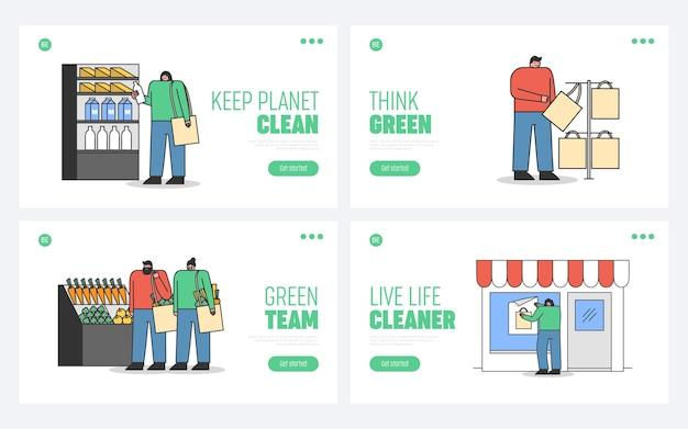Conjunto de páginas de destino para o conceito de desperdício zero de site de ecologia