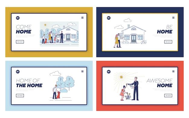 Conjunto de páginas de destino para o design do site da agência imobiliária