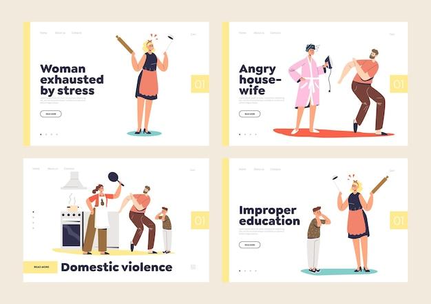 Conjunto de páginas de destino para violência doméstica e assédio doméstico infantil