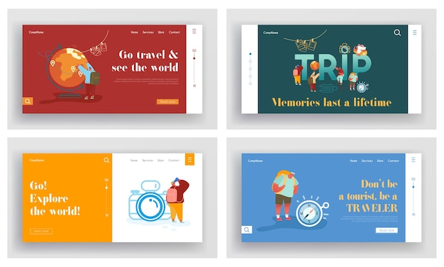 Conjunto de páginas iniciais da aventura de turistas, viajando ao redor do mundo. viagem ao exterior, viagem de férias de verão. explore o site mundial, modelo de página da web de conceito.