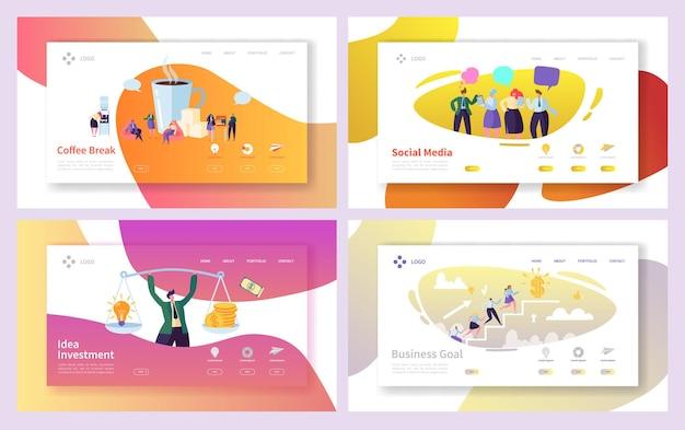 Conjunto de páginas iniciais da ideia de investimento social de homem de negócios.