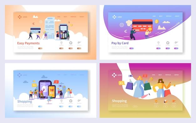 Conjunto de páginas iniciais de transações de pagamento de compras online.