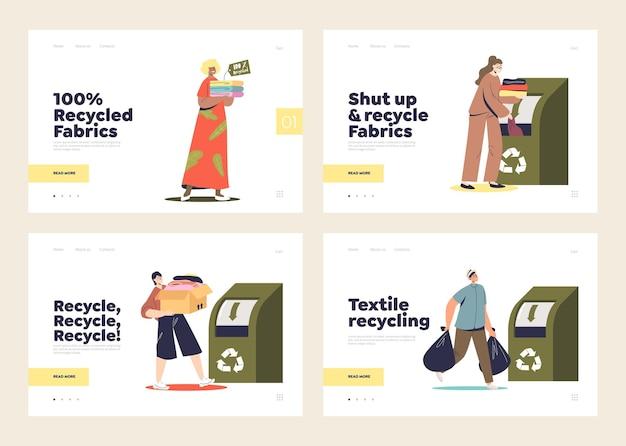 Conjunto de páginas iniciais para o conceito de reciclagem de roupas.