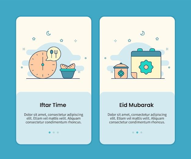 Conjunto de páginas móveis de hora iftar e calendário eid mubarak