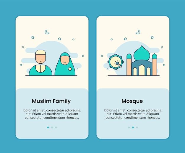 Conjunto de páginas móveis de mesquita e família muçulmana