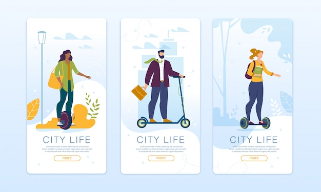 Conjunto de páginas móveis de rede social de design de vida urbana