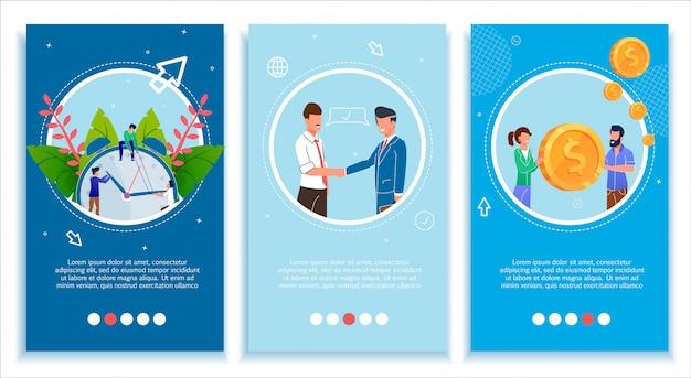 Conjunto de páginas móveis para negócios melhore e desenvolva