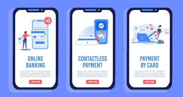 Conjunto de páginas móvel a bordo de serviços de pagamento on-line