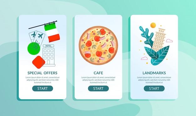 Conjunto de páginas para celular da agência de viagens oferta para viagem à itália