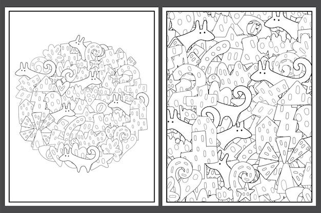Conjunto de páginas para colorir com elementos tribais e ilustração de cães