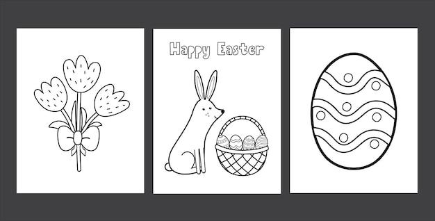Conjunto de páginas para colorir de páscoa com ovo de coelho fofo e tulipas coleção de páginas de atividades de primavera em preto e branco para crianças livro de colorir com coelho
