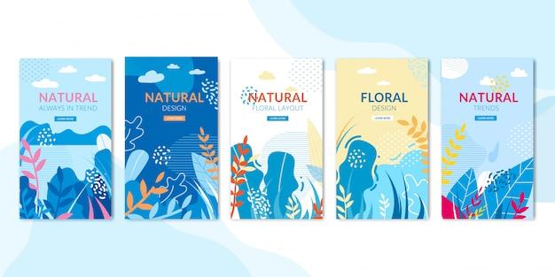 Conjunto de páginas sociais com design natural e floral