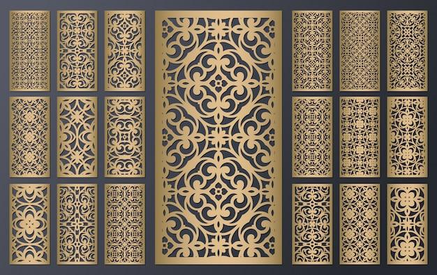 Conjunto de painéis ornamentais de corte a laser. projeto de metal, escultura em madeira
