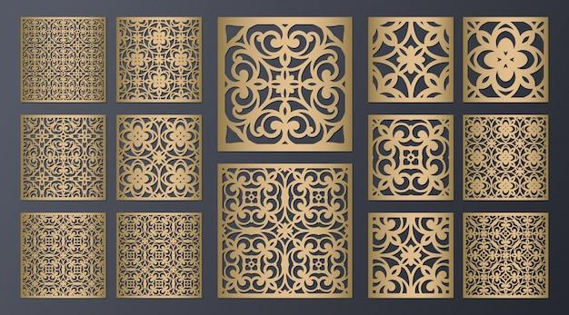 Conjunto de painéis ornamentais quadrados cortados a laser. tela de gabinete fretwork. projeto de metal, escultura em madeira