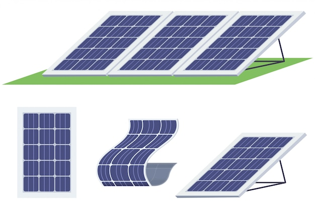 Conjunto de painéis solares. bateria de energia solar de várias formas