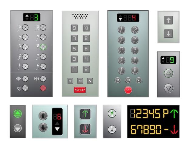 Conjunto de painel de botões de elevador isolado no fundo branco