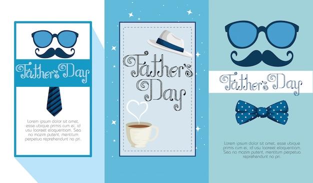 Conjunto de pais cartão para comemoração de feliz feriado