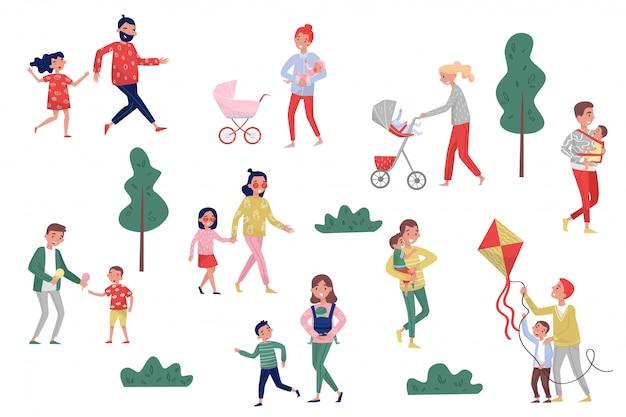 Conjunto de pais com filhos em diferentes ações. infância feliz. estilo de vida ativo. conceito de paternidade e maternidade