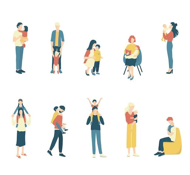 Conjunto de pais e filhos. criança e mulher feliz passam algum tempo juntos. pai segurando seu filho. criança brincando e se abraçando com os pais.