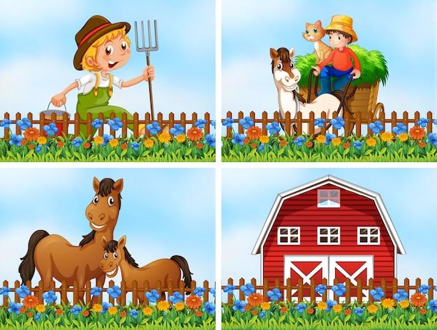 Conjunto de paisagem da fazenda