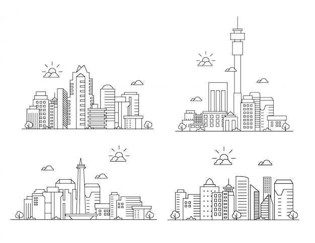 Conjunto de paisagem de cidade de linha fina