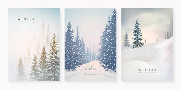 Conjunto de paisagem de inverno com nevascas e árvores