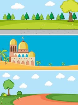 Conjunto de paisagem diferente
