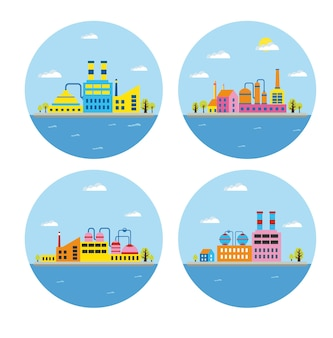 Conjunto de paisagem industrial de edifícios de vetor. edifício da caldeira. construção de energia. construção de armazéns. construção de fábricas. o prédio da subestação. edifícios edifícios industriais urbanos.