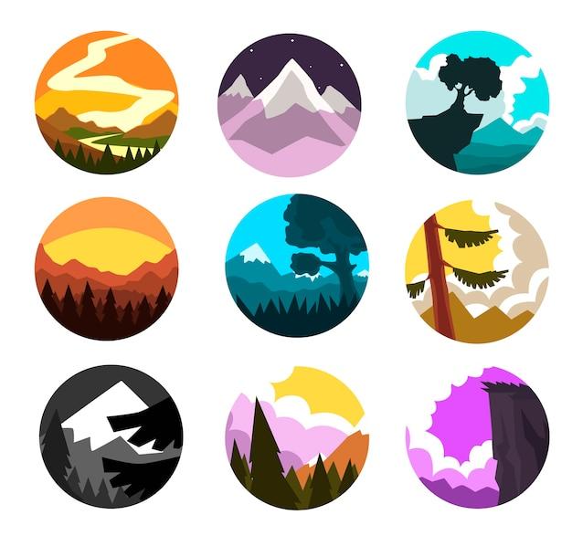 Conjunto de paisagem natural selvagem, cenário de montanhas em diferentes momentos do dia, ilustrações em um fundo branco