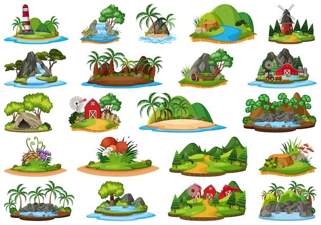 Conjunto de paisagem natureza ilha
