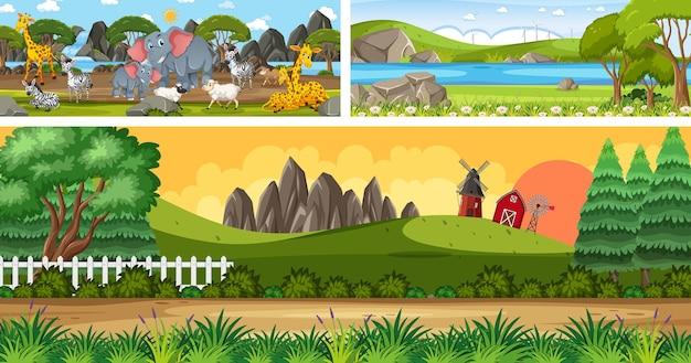 Conjunto de paisagem panorâmica ao ar livre com personagem de desenho animado