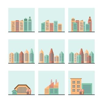 Conjunto de paisagem urbana