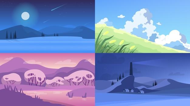 Conjunto de paisagem. várias vistas externas da natureza