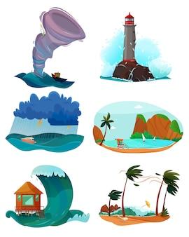 Conjunto de paisagens à beira-mar