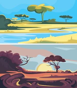 Conjunto de paisagens africanas. belas paisagens da natureza.
