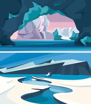 Conjunto de paisagens árticas. cenários de natureza de gelo.