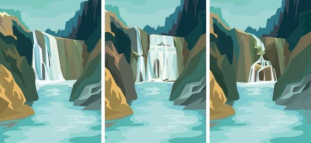 Conjunto de paisagens belas cachoeiras.