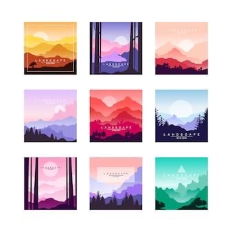 Conjunto de paisagens bonitas dos desenhos animados plana com montanhas, colinas e florestas. tema natural.