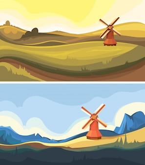 Conjunto de paisagens com moinho de vento. lindos cenários naturais.