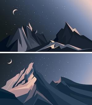 Conjunto de paisagens com montanhas no meio da noite.