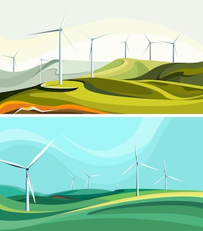 Conjunto de paisagens com parques eólicos.