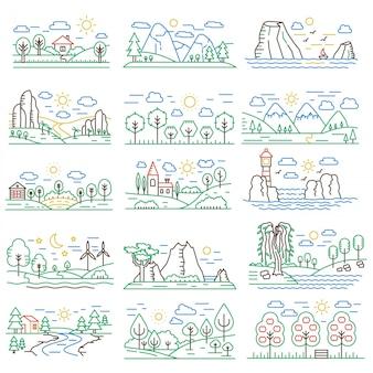 Conjunto de paisagens de linha de cor natural