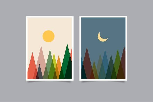 Conjunto de paisagens de pôster moderno de arte de parede