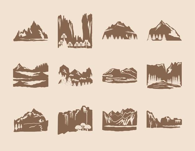 Conjunto de paisagens de silhuetas de montanhas e árvores