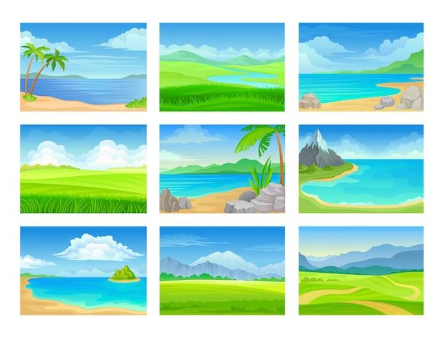 Conjunto de paisagens de verão.