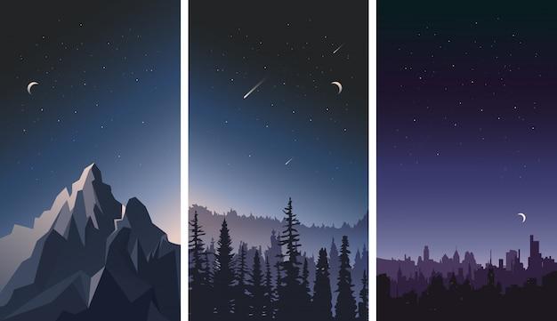 Conjunto de paisagens do céu noturno. cidade, montanhas e florestas em um fundo de estrelas.