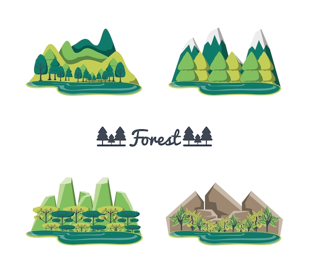 Conjunto de paisagens florestais naturais