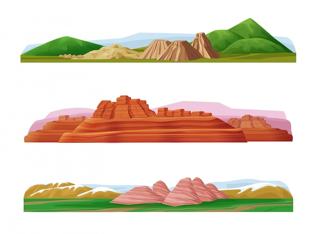 Conjunto de paisagens montanhosas coloridas de desenho animado