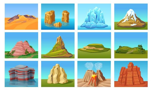 Conjunto de paisagens montanhosas dos desenhos animados